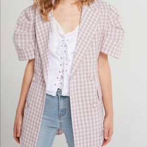 Storets Gingham Short Puff Sleeve Jacket